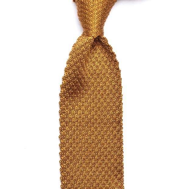 Silk Knit Tie - Golden Wheat - Knitted Ties - Berg & Berg