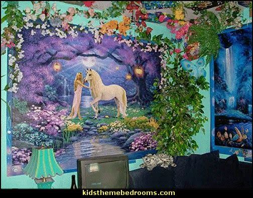 Fairy unicorn wall murals fairy fantasy theme bedrooms for Fairy forest mural