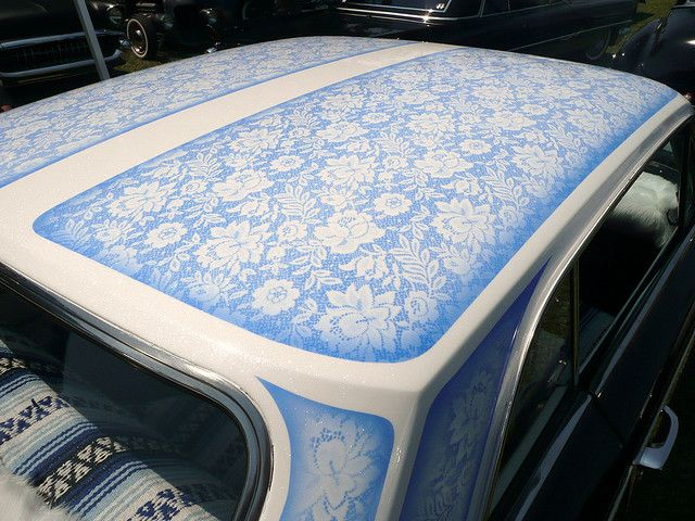 lace patterned car roof (nice seat covers too)