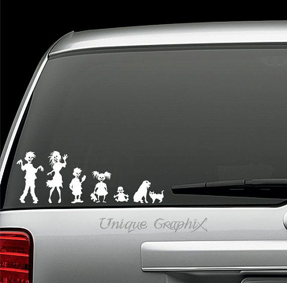 Zombie family vinyl decal window sticker by uniquegraphix on etsy 2 00
