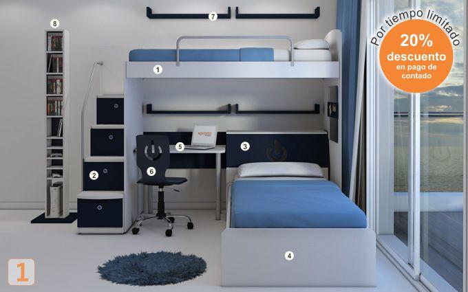 Mueble: (Código B17) camas-marineras-varones - AGIOLETTO, Muebles Infantiles, Muebles Juveniles