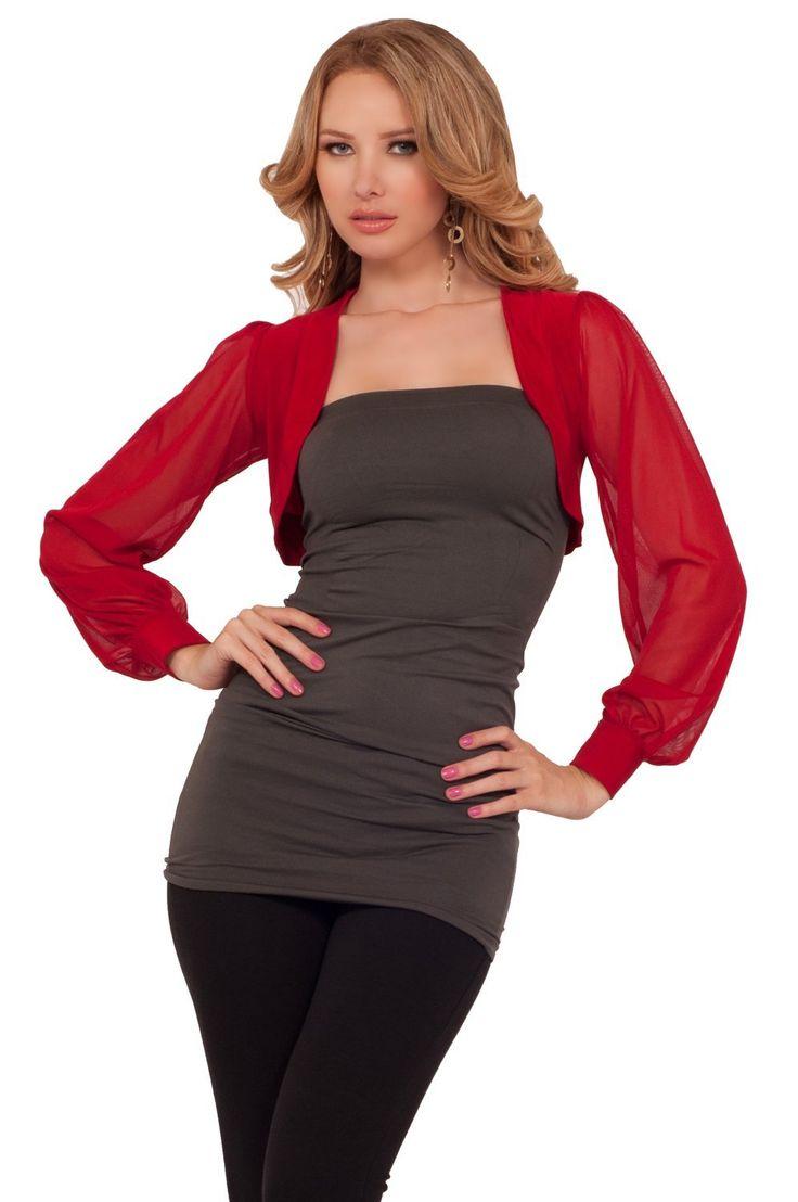 Amazon.com: Womens Loose Casual Sheer Chiffon Open Collar Long Cuff Sleeve Cropped Shrug: Clothing