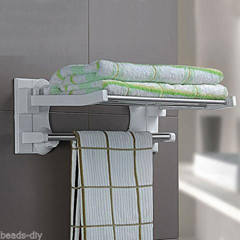 BD Stainless Steel Wall Mounted Bathroom Suction Towel Rail Holder Storage Rack