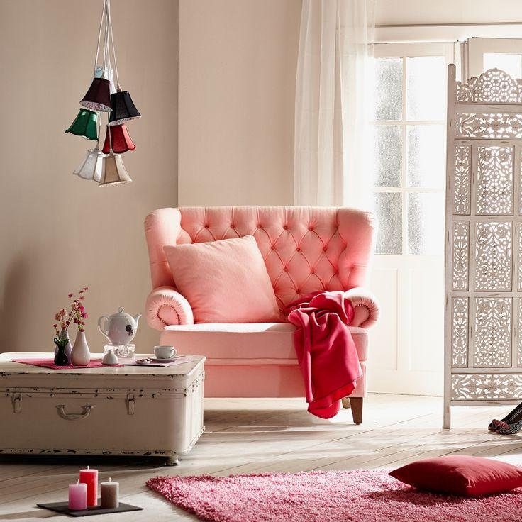 Miss Elliot růžové stylové křeslo s prošíváním / living room armchair
