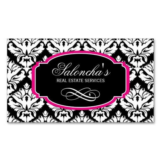 Damask Real Estate Business Card Black Pink only $28.95 for 100 cards including design!