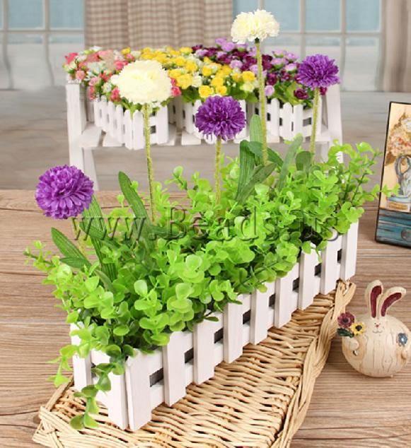 Decoración de Flores Artificiales, paño, con madera, color mixto, 300x200mm, 3Unidades/Grupo, Vendido por Grupo - beads.us
