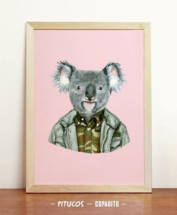 Koala Art Print  Giclee Poster Wall Art Draw Original by Pitucos, $20.98