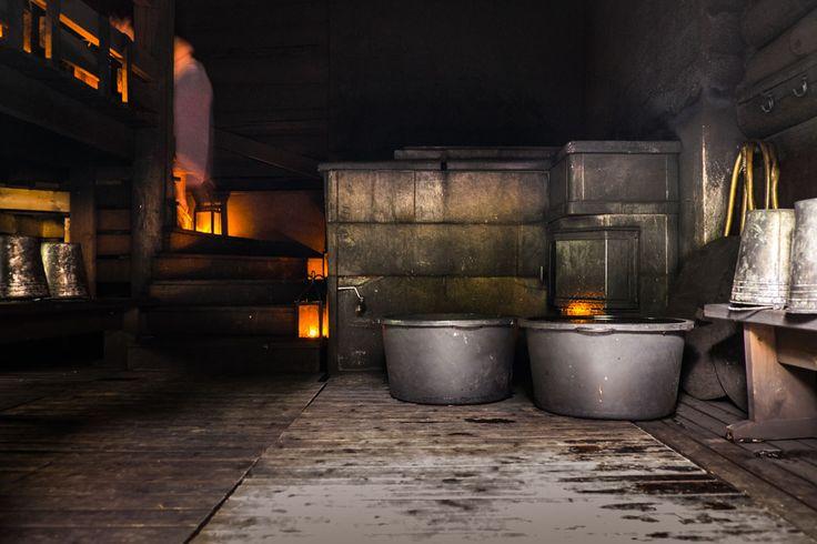 Interior of a traditional Finnish smoke sauna in Vierumäki.
