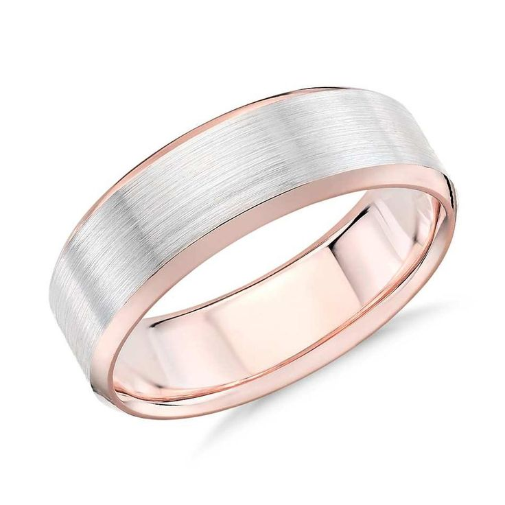 Brushed Bevelled Edge In 9K White And Rose Gold(6mm) | The Diamond Channel, Johannesburg