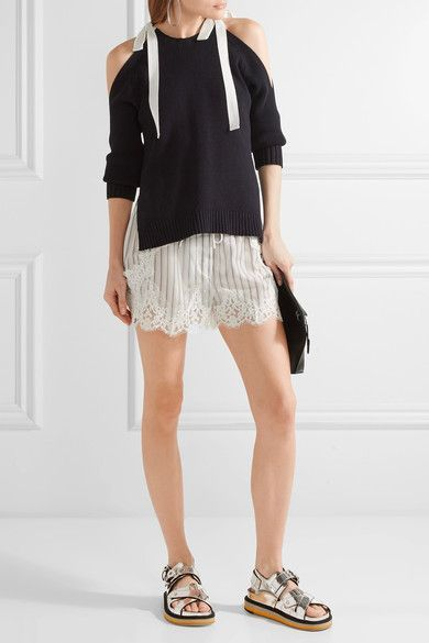Sacai - Lace-trimmed Striped Shell Shorts - Off-white -