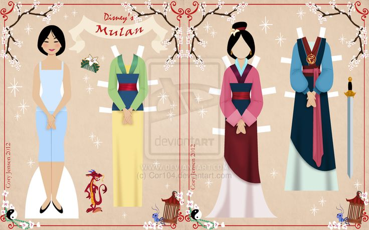 Paper dolls: http://cor104.deviantart.com/art/Mulan-Paper-Doll-317390134