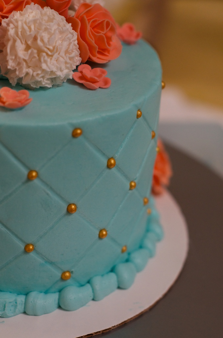 Tiffany Blue And Coral Birthday Cake Buttercream With Gum