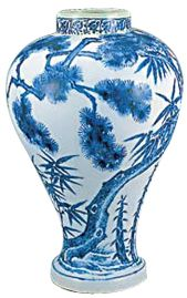 Blue and white Joseon Dynasty porcelain vase with bamboo and pine tree design