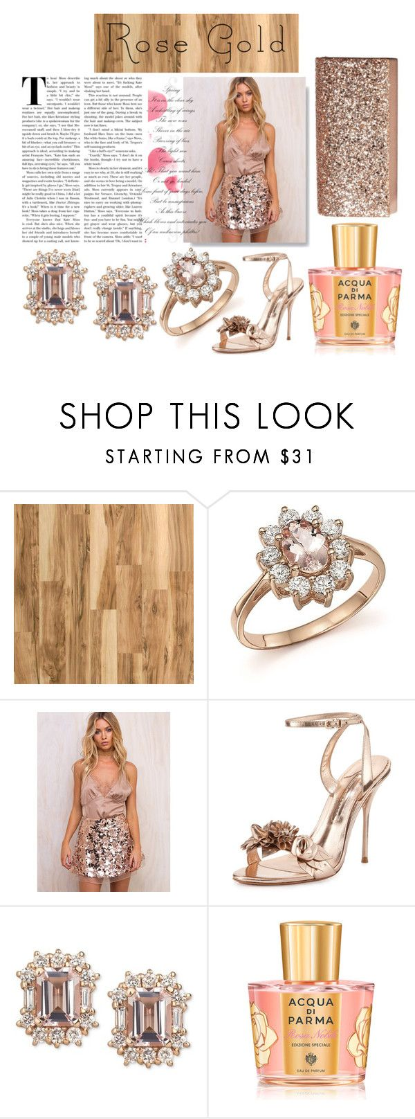 """""""In Rose Gold"""" by missdelozier ❤ liked on Polyvore featuring Home Decorators Collection, Bloomingdale's, Sophia Webster, Acqua di Parma, Jessica McClintock, rosegold and contestentry"""