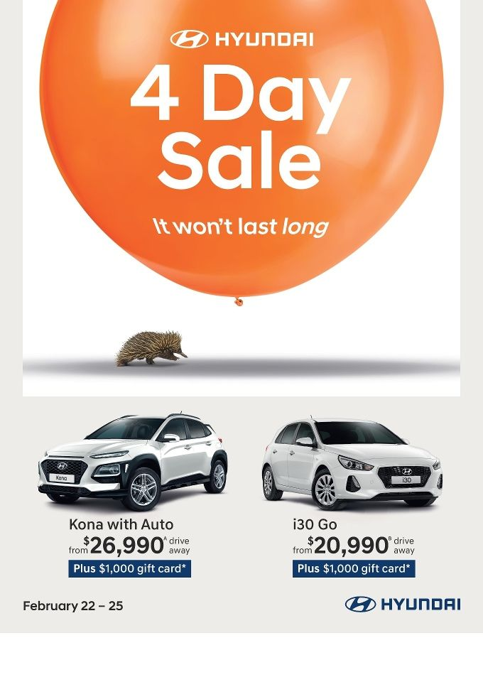 Hyundai 4 Day Sale 22 - 25 February 2018 - http://olcatalogue.com/hyundai/hyundai-sale.html