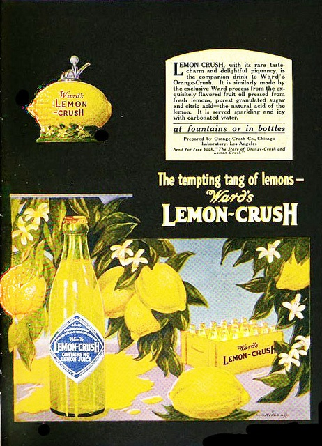 Enjoy the tempting tang of lemons! #vintage #food #ad #1920s #lemons #soda