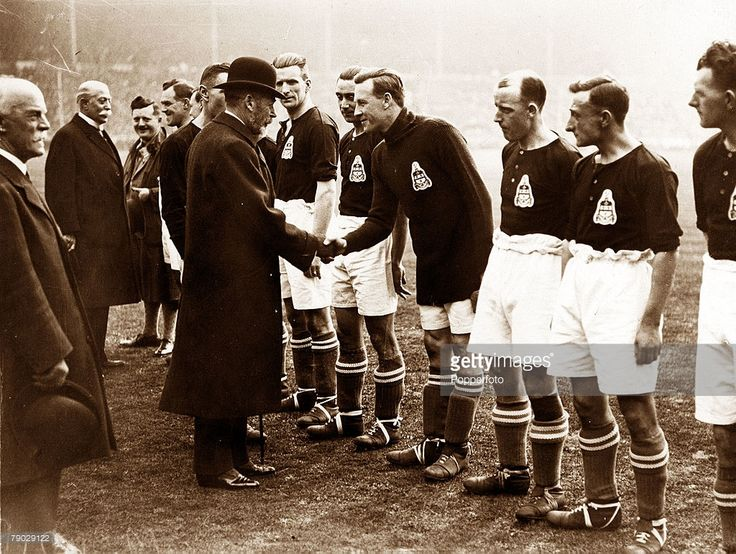 Sport, Football, 1928 FA Cup Final, Wembley, London, England, 21st April 1928, Blackburn Rovers 3 v Huddersfield Town 1, Blackburn Rovers players are introduced to King George V before the game
