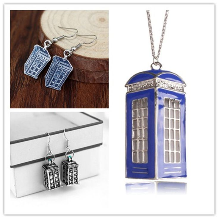 Fashion Movie Dr. Who Necklace Men And Women Jewelry Blue Enamel Phone Booth Call Police Box Pendant