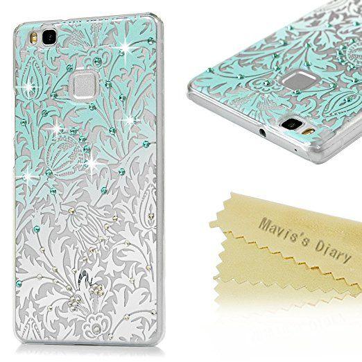 Huawei P9 Lite Custodia Trasparente Glitter Bling Case DIY 3D Diamante - Mavis's Diary Cover Duro del PC di Plastica Estremamente sottile - Progettazione Foglie e fiori