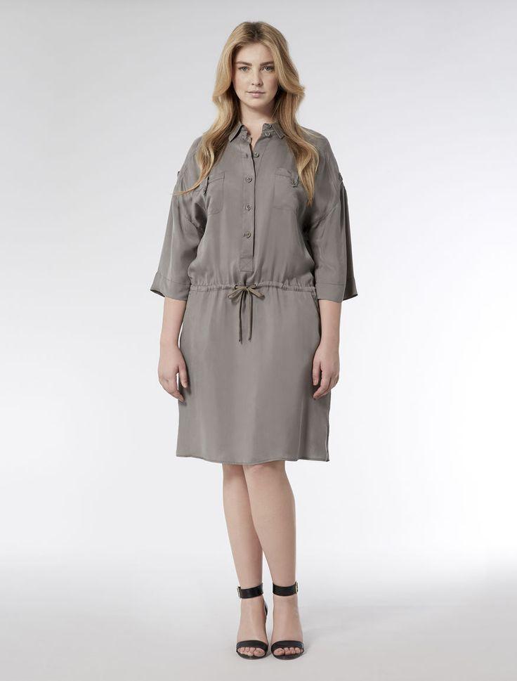 Marina Rinaldi DECADE mud: Shirtdress with drawstring waist.