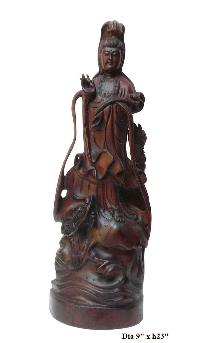 Chinese boxwood carved standing kwan yin statue vs s