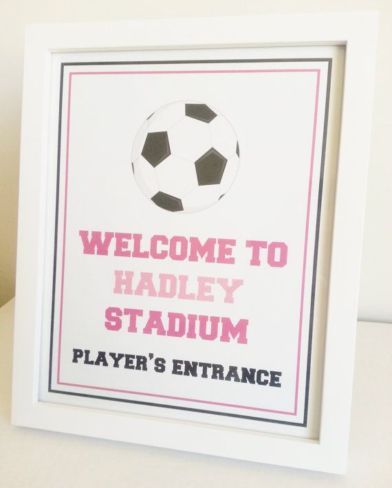 Girl Soccer Party Welcome Sign  8x10  Birthday by LittleMavens, $8.00