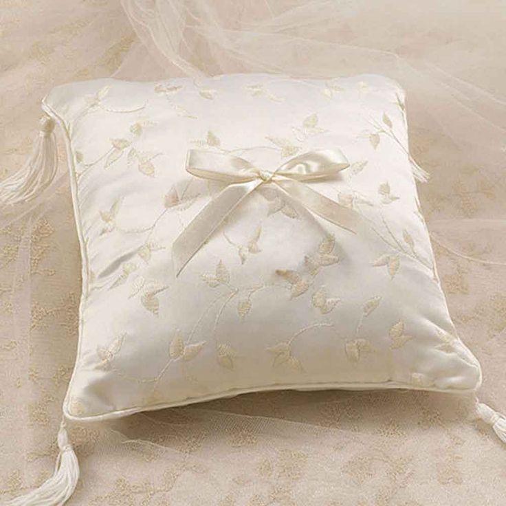 Ivory Elegant Satin Wedding Ring Pillow