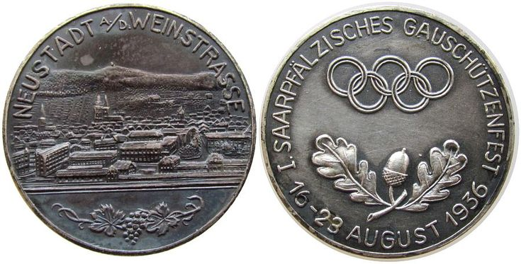 Schützen Silber Neustadt an der Weinstrasse - auf das 1. Saarpfälzische Gauschützenfest, Stadtansicht / Olympische Ringe über Eichenlaub, Medaille 1936 vz