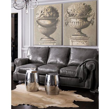 Gray leather couch.... Looooove