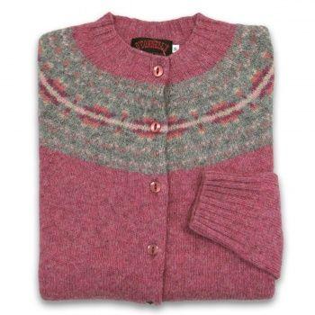 Women's Scottish Shetland Wool Fair Isle Cardigan Sweater - Cottage Pink