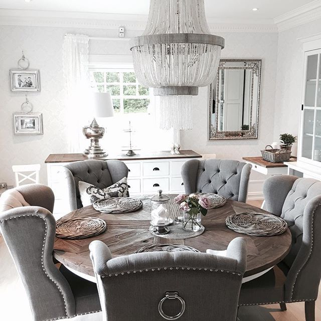 majestic looking gray upholstered dining chairs. pretty  Grey Round Dining TableGrey Room ChairsRound 360 best chic dining rooms images on Pinterest