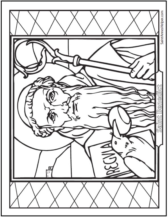 saint benedict quotes and coloring pages saints saints coloring pages coloring books. Black Bedroom Furniture Sets. Home Design Ideas