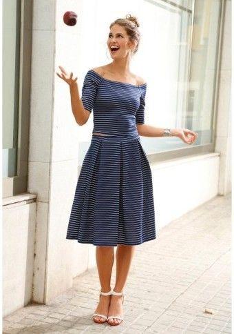 Objevte v sobě námořnici :) #Modino_cz #stripes #striped #skirt #top #navy #navyblue #blue #white