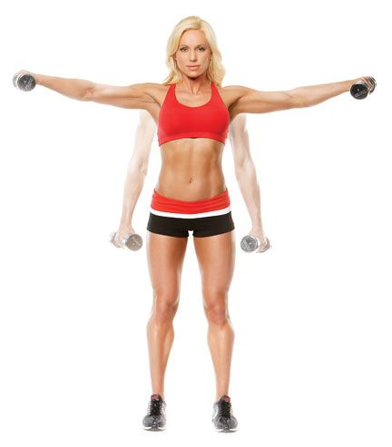 Lateral Raises (deltoid). With a slight bend in your elbows, raise the dumbbells away from the sides of your body until your arms are parallel to the floor.