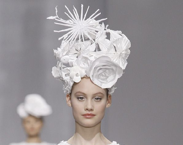 Paper floral headpieces created by Katsuya Kamo for Karl Lagerfeld's CHANEL Haute Couture S/S 2009 Collection,