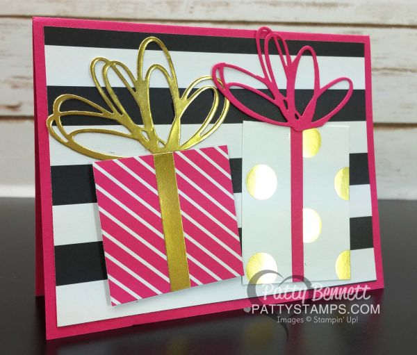 Stampin Up! card featuring Pop of Pink designer paper - gifts and bows created with squares of paper and the Sunshine Wishes framelit dies, by Patty Bennett, www.PattyStamps.com