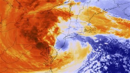 Sandy slows nuclear plants, oldest declares alert.  Post-Tropical Cyclone Sandy is seen as it makes landfall about five miles (8 km) southwest of Atlantic City, New Jersey in this National Oceanic and Atmospheric Administration (NOAA) Global Online Enrollment System (GOES)-13 satellite colorized infrared handout image taken at 8pm EST (0000 GMT) October 29, 2012.
