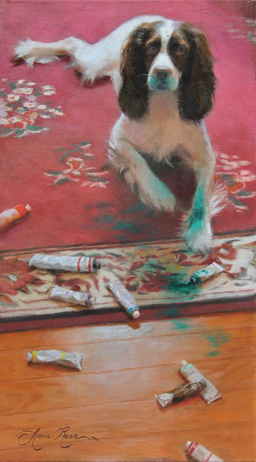 """""""The Incident"""" - 18x10 - oil on linen - $1250. Original pet portrait of a Springer Spaniel getting into thalo green oil paint, by Anna Rose Bain"""