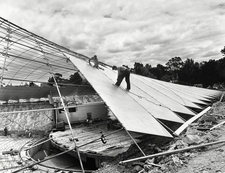 Amazing photos of the construction of the Sidney Myer Music Bowl and it's incredible sail from the State Library of Victoria. #lostmelbourne #cfkheritage #history