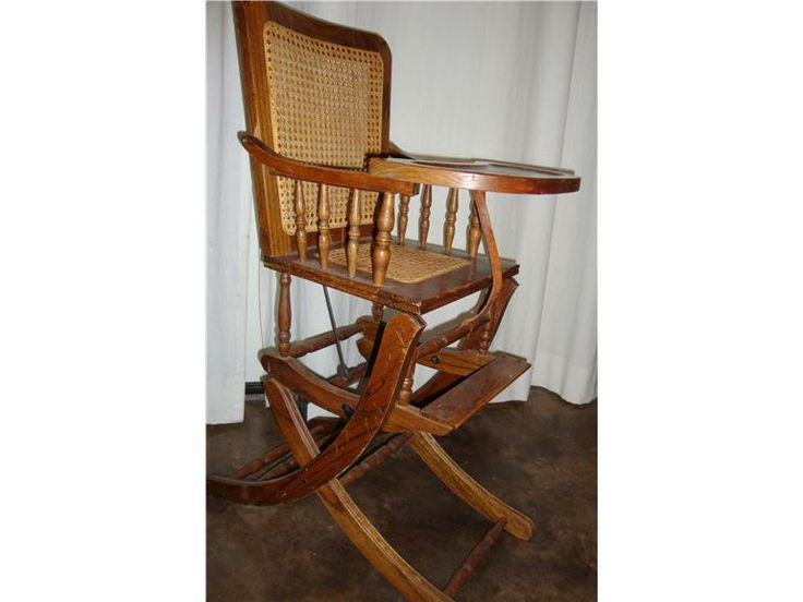Antique Golden Oak High Chair Side View