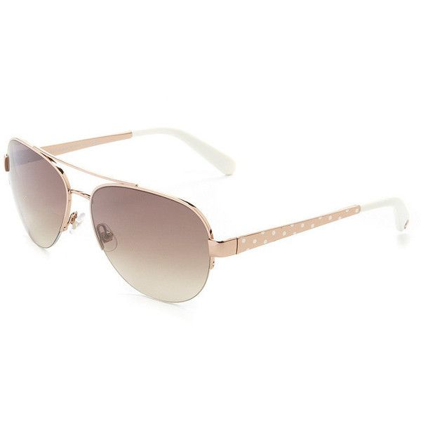 kate spade new york Marion Semi-Rimless Aviator Sunglasses ($150) ❤ liked on Polyvore featuring accessories, eyewear, sunglasses, aviator sunglasses, semi rimless glasses, kate spade eyewear, aviator glasses and kate spade