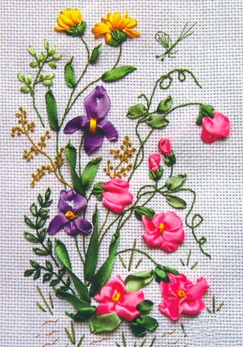 1000 Images About Ribbon Embroidery Patterns On Pinterest