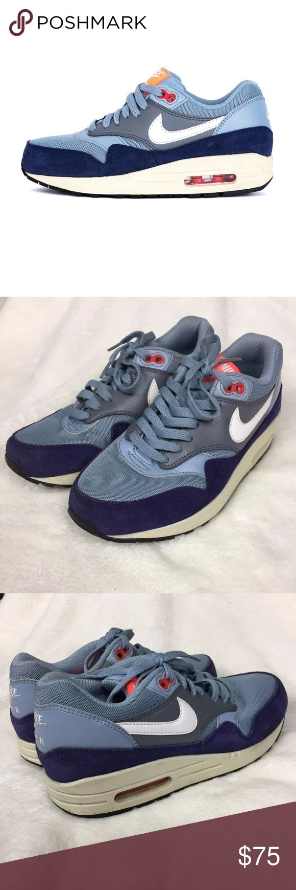 """Nike Air Max 1 Essential Blue/Gray Running Shoes Nike women's Air Max 1 Essential blue/gray running shoes, size 7. Low heel of 1"""". No trades, but feel free to use the offer button. Thank you for browsing my closet. Nike Shoes Athletic Shoes"""