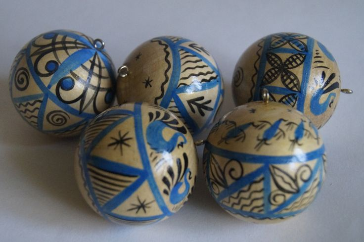 Wooden Ornament balls, Christmas baubles, Blue and Golden Mezen painting by RussianStore on Etsy