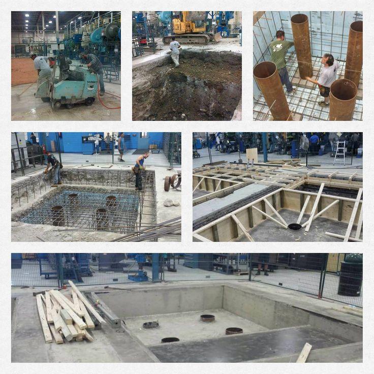 Reinforced machine foundation construction