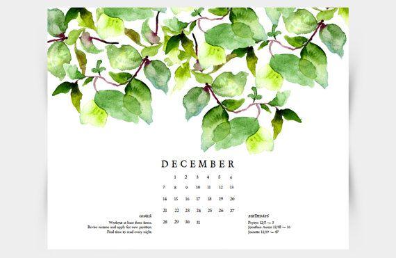 Printable Watercolor Leaves Botanical Calendar Diy