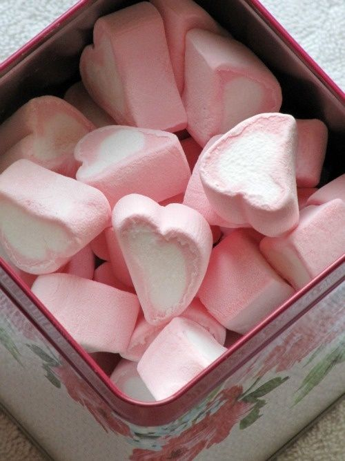 Pink and White Heart Marshmallows