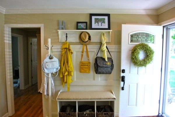 Entryway Benches Coat Rack Nearby Joules Yellow Floral Scarf and Wide Brim Felt Fedora Hat Above Small Shoe Storage Using Square Rattan Basket also Small Corner Table Hallway Storage Unit
