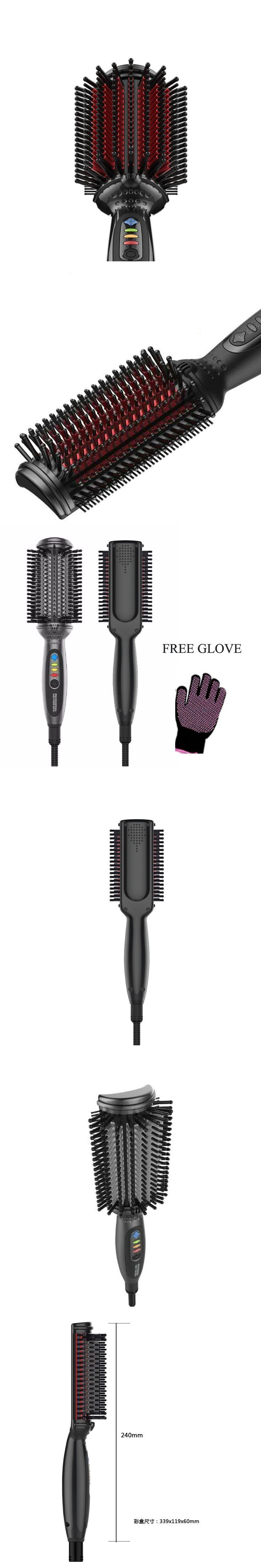 Hair Straightener Brush Cordless Hair Straightener Iron Electric Hair Brush Ceramic Hair Straightener Comb With Glove
