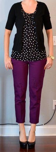 purple cropped pant, black  white polka dot blouse, black cardigan